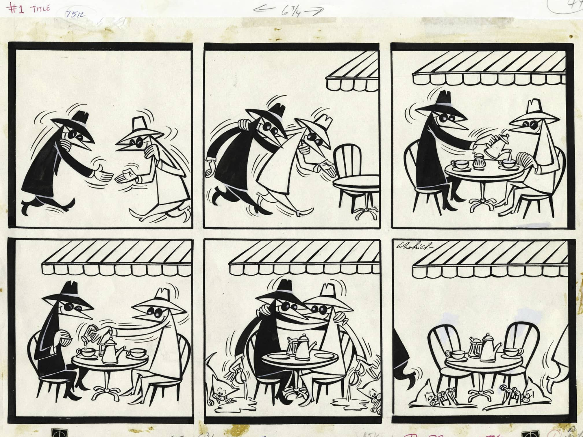 "Vintage Spy Versus Spy cartoon strip, with the two spies meeting for ""coffee"" (neither drinking because they're each trying to poison the other)"