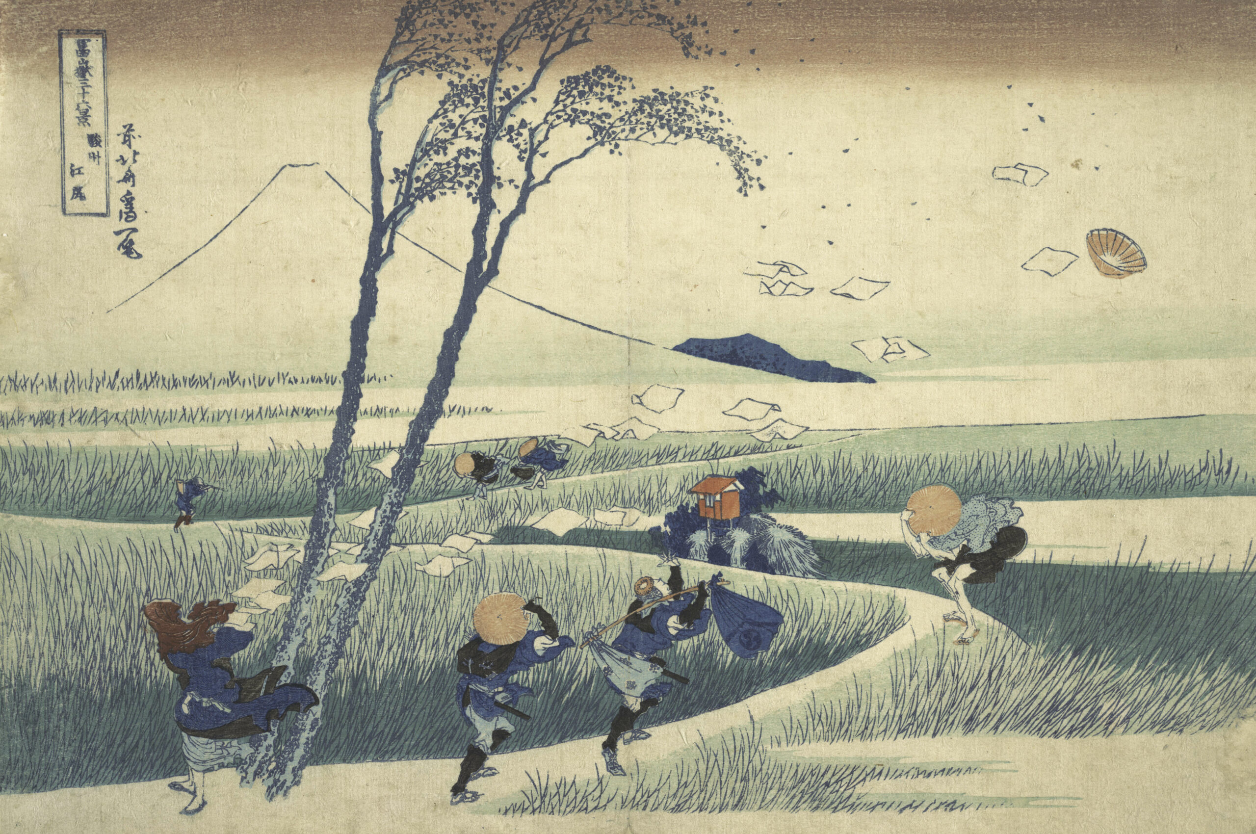 "Hokusai's woodblock print ""Ejiri in Suruga Province"", depicting people in Edo-era clothing bracing against strong wind, with one man losing his hat into the air"