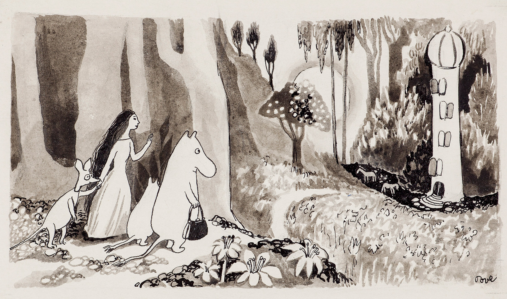 Inkwash painting by Tove Jansson, depicting Moominmamma, Moomintroll, Sniff, and Tulippa looking at the Moomin house