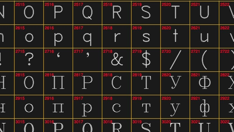 A glyph map of vector-rendered letters from the Latin and Cyrillic alphabets